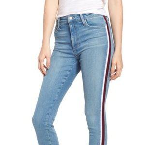 Joe's Jeans Charlie Velvet-Trim Ankle Skinny Jeans